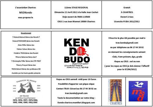 Stage de Kendo à Chartre le 22/11/2012