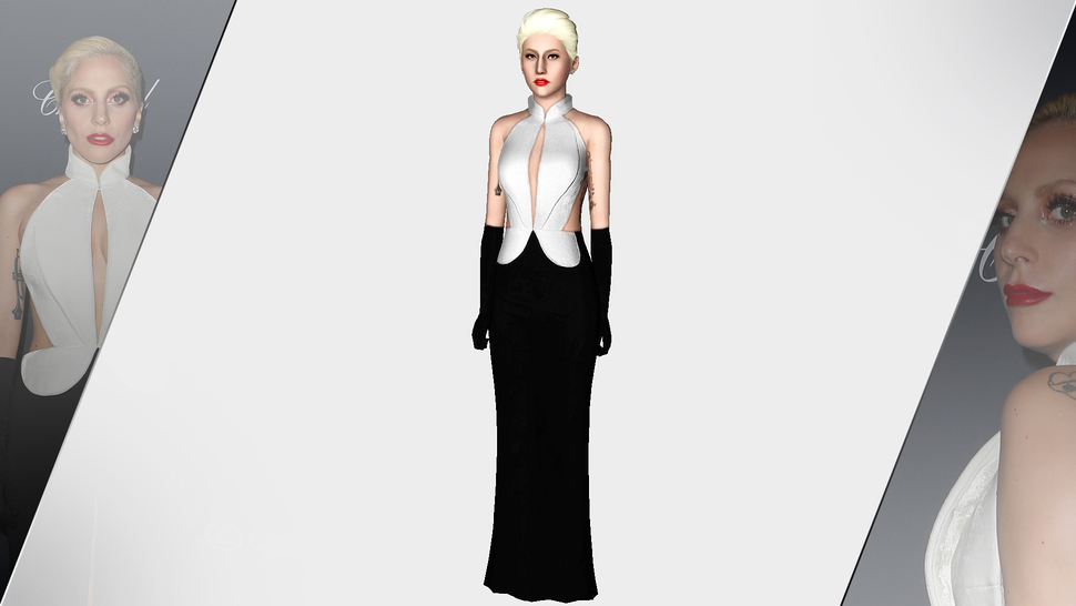 BRANDON MAXWELL 2016 BLACK & WHITE VELVET DRESS