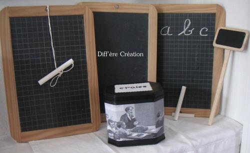 Tableau noir et boîte à craies