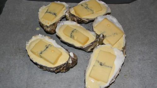 Huitres à la crème d'asperge blanche gratinée au morbier...