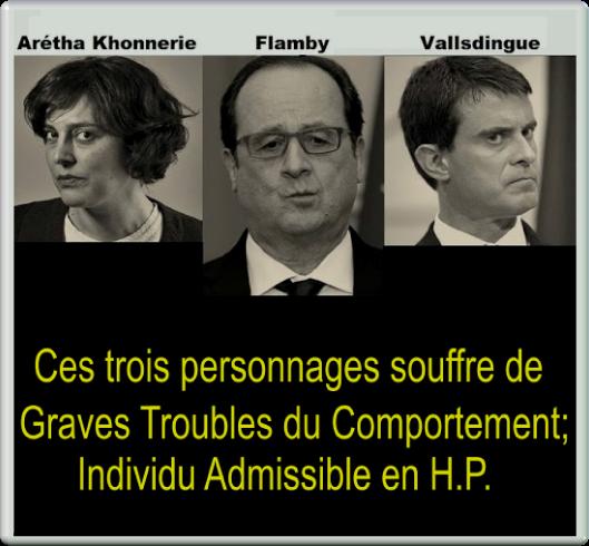 Ces trois personnages souffre de grave trouble du comportement; Individu admissible en H.P