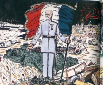 « Le don à la patrie » Illustration allégorique figurant Pétain sur les ruines de la France, homme providentiel seul capable de redresser la France.