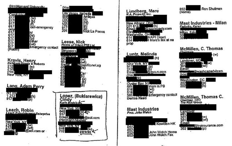 ➤ l'intégralité du petit carnet noir de Jeffrey Epstein, le pédocriminel milliardaire