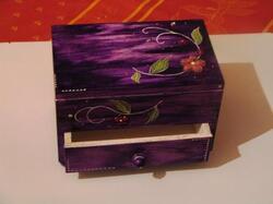 Boite a bijoux violette fleures