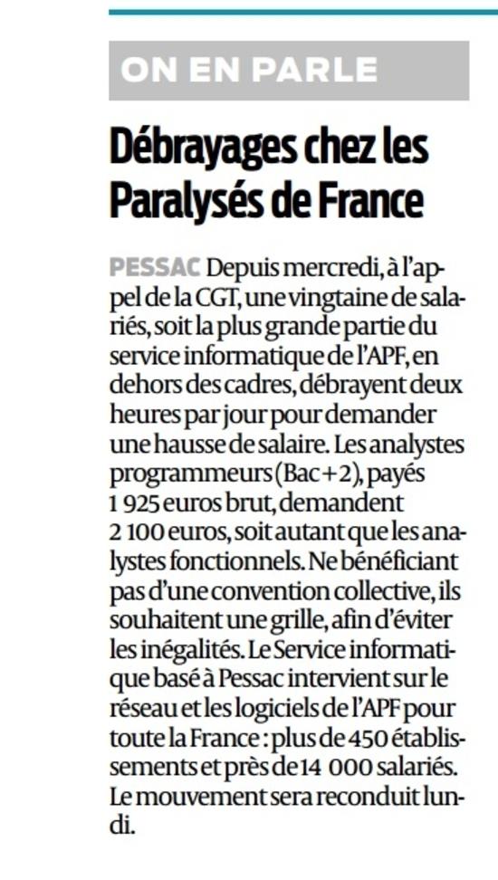 Article Sud Ouest Grève APF 24 01 2015