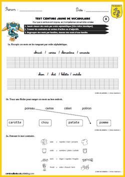 Ceintures de vocabulaire CE1-CE2