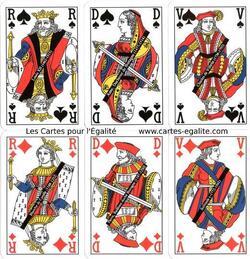 Cartes à jouer paritaires F/H