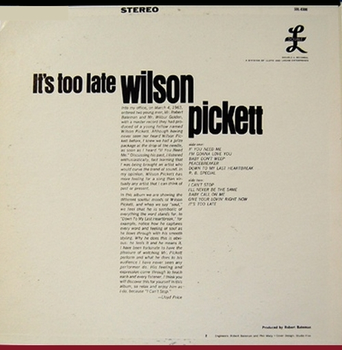 "Wilson Pickett : Album "" It's Too Late "" Double-L Records DL-2300 [ US ]"