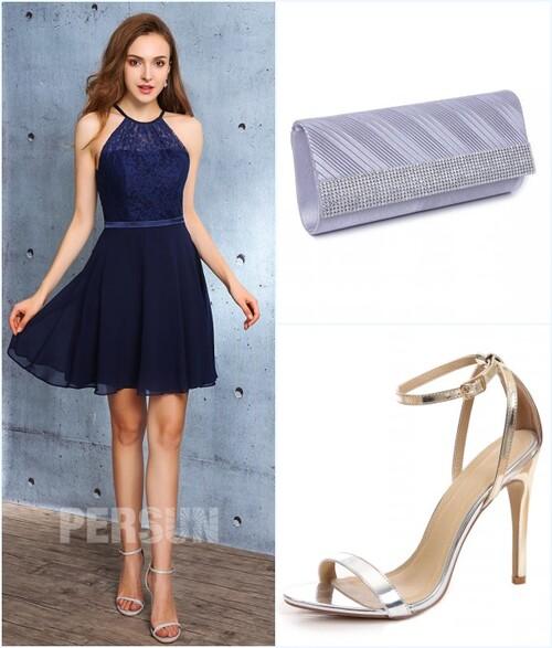 robe bleu courte, sac et sandale pour mariage
