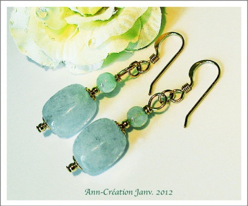 Boucles Aigue-Marine / Plaqué Or Gold Filled