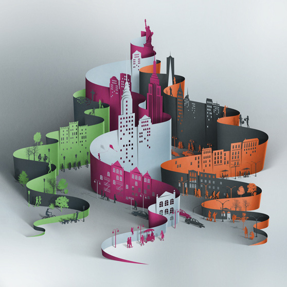 paper art sculpture city
