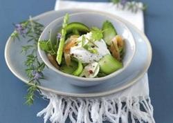 Salade de saumon et mousse de fromage blanc à la ciboulette