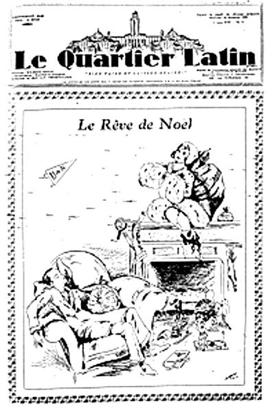 Le Rêve de Noël de l'étudiant… Journal « Le Quartier Latin » (19 décembre 1929. Source : Archives de l'Université de Montréal www.Archiv.umontreal.ca)