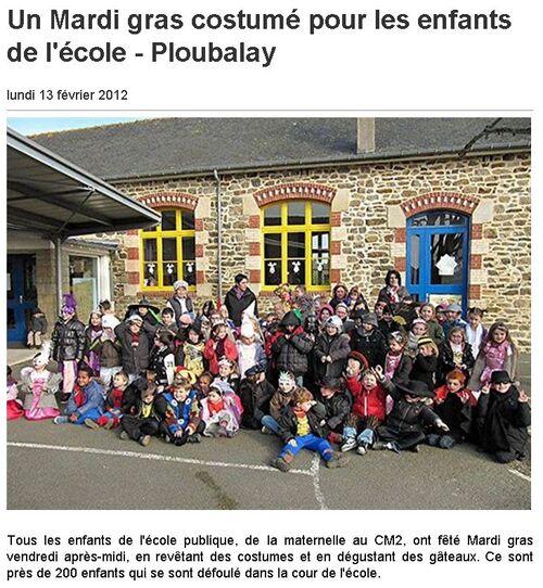 13 février 2012 - Un Mardi gras costumé pour les enfants de l'école