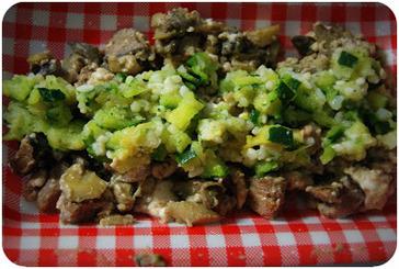 Recette - Cervelle d'agneau aux courgettes et champignons