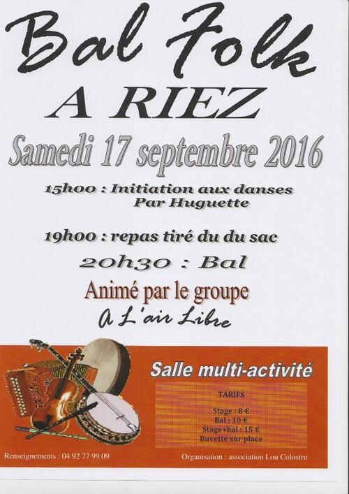 "BAL FOLK à RIEZ avec ""A L'AIR LIBRE"" -Sam 17 Sept"