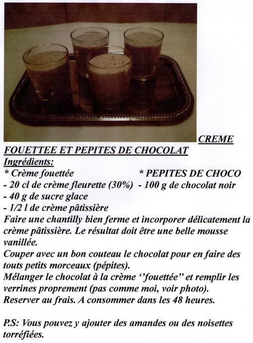 CREME FOUETTEE AUX PEPITES DE CHOCOLAT