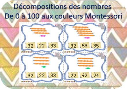 Ajout décompositions de 100 cartes à choix - Version Montessori