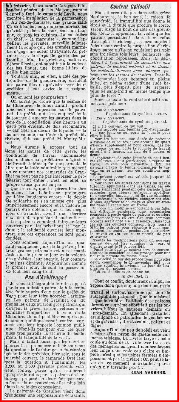 - Grève 1909 : L'article de l'Humanité