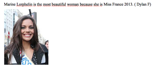 The most beautiful woman is...