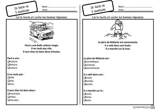 Un texte, 3 questions, lecture, compréhension, Cp, choix multiples, dixmois