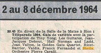 04 décembre 1964 / TELEPARADE 1964 (TSR) - INTROUVABLE