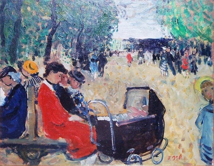 François Gall. peintre français d'origine hongroise. Au jardin du Luxembourg