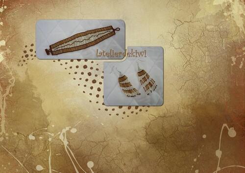 Bracelet et BO caramel/vanille