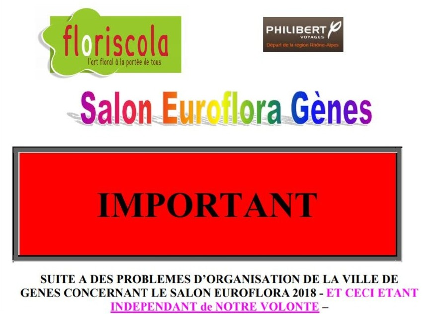 VOYAGE : Salon Euroflora à Gènes 28 &29 avril 2018 - Attention inscription avant 21/12/17