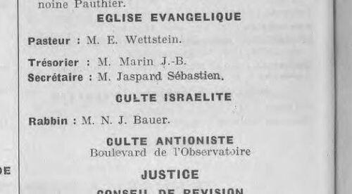 Monaco - Culte Antioniste (Annuaires des Alpes-Maritimes, 1914)