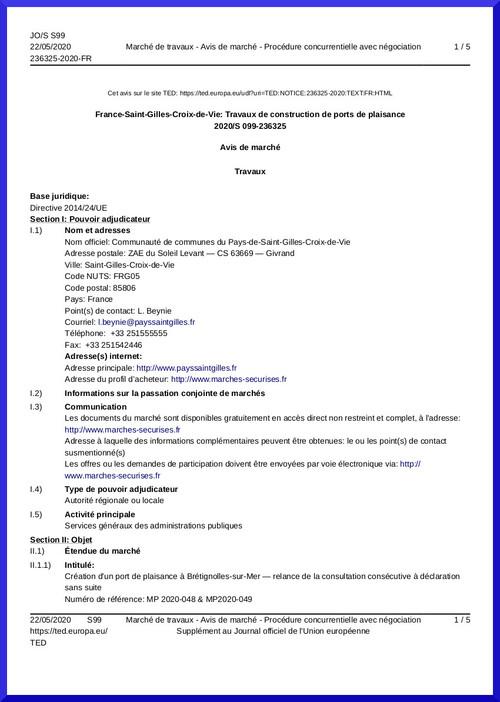 À Brétignolles, un appel d'offre en forme de coup de force!