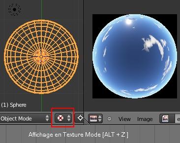 La demi sphère en vue de dessus en affichage Texture Mode