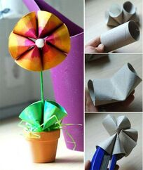 Flower made from toilet rolls.