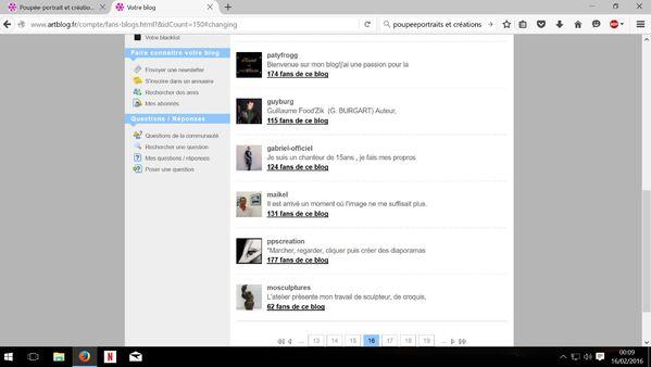 """Capture liste interne """" Vous aimez leur blog"""" avec photos, avatar... page-16"""