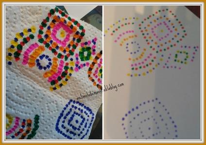 pointillisme, motif, essuie tout, dessin