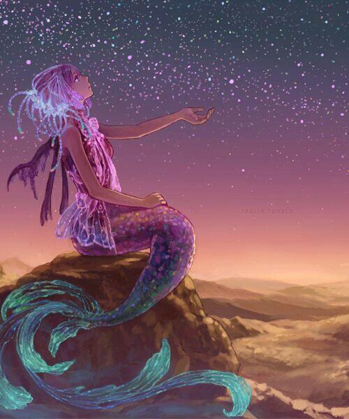 Image de mermaid, stars, and anime