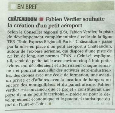 Aéroport Châteaudun : Article de l'écho républicain