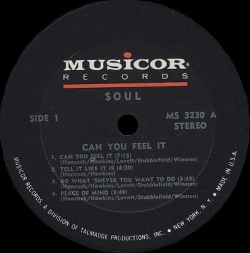 "1972 : Album "" Can You Feel It "" Musicor Records MS 3230 [ US ]"