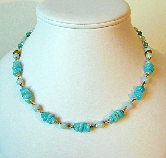 Collier Pierre d'Amazonite / Laiton et Plaqué Or Gold Filled