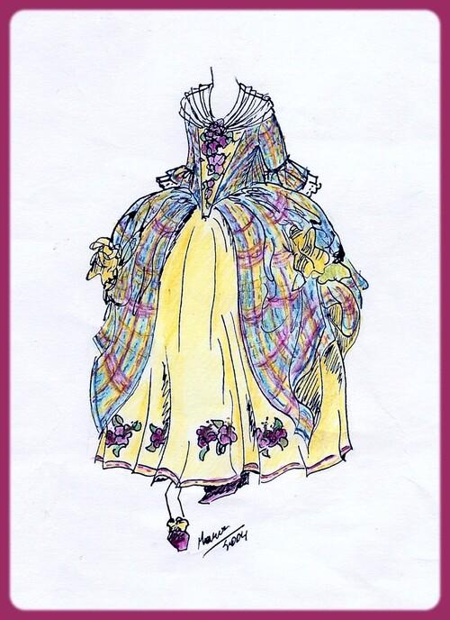 marie cazaubon, robe ibiscus, 18 eme, costume