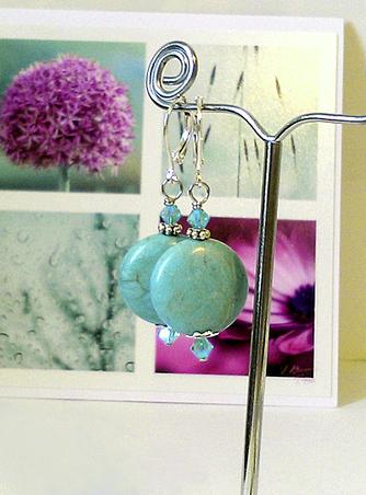 Boucles Dormeuses - Lentilles Pierre de Turquoise 15 mm et Cristal de Swarovski / Plaqué argent