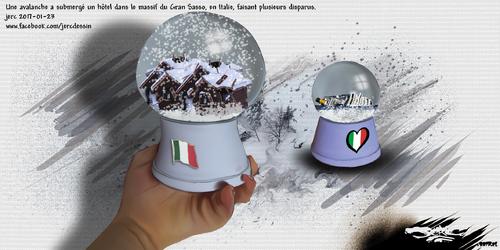 dessin de JERC lundi 23 janvier 2017 caricature avalanche hôtel Italie Dolce Vita www.facebook.com/jercdessin