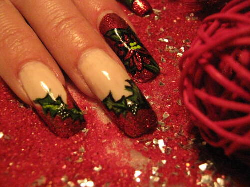 Nail art : Noël floral