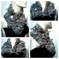 création de cols snood en laine filée main (2012)