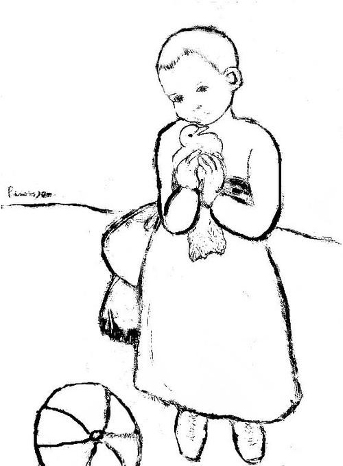 L'enfant au pigeon, coloriage