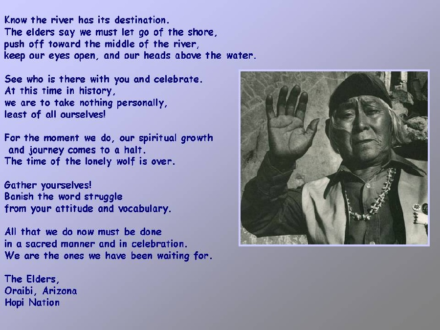 message from the HOPI nation