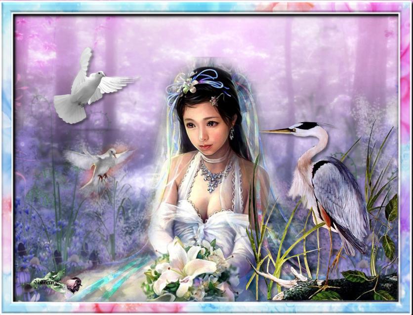 La belle et la bête et la belle et les colombes