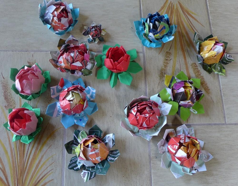 Fleurs de lotus en origami modulaire...