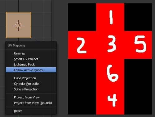 Dépliage du cube avec la commande U > Follow Active Quads