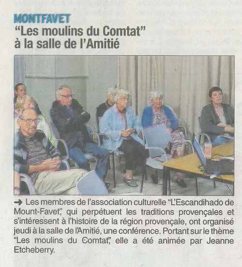 """CONFERENCE """"Les moulins du Comtat"""" jeudi 31 mai 2018"""